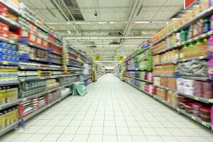 a supermarket isle full of products