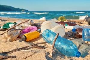 bottles on beach