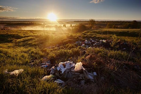 Litter in a beauty spot at sunset